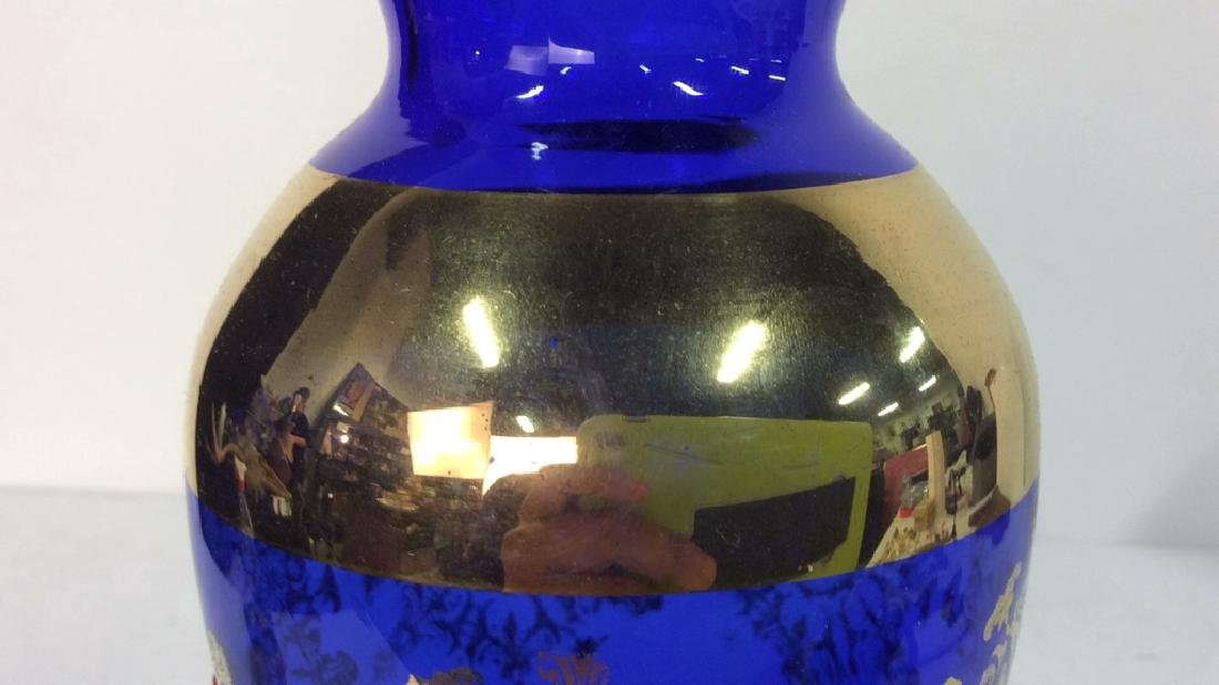 Cobalt Blue & Gold Toned Vase - 10