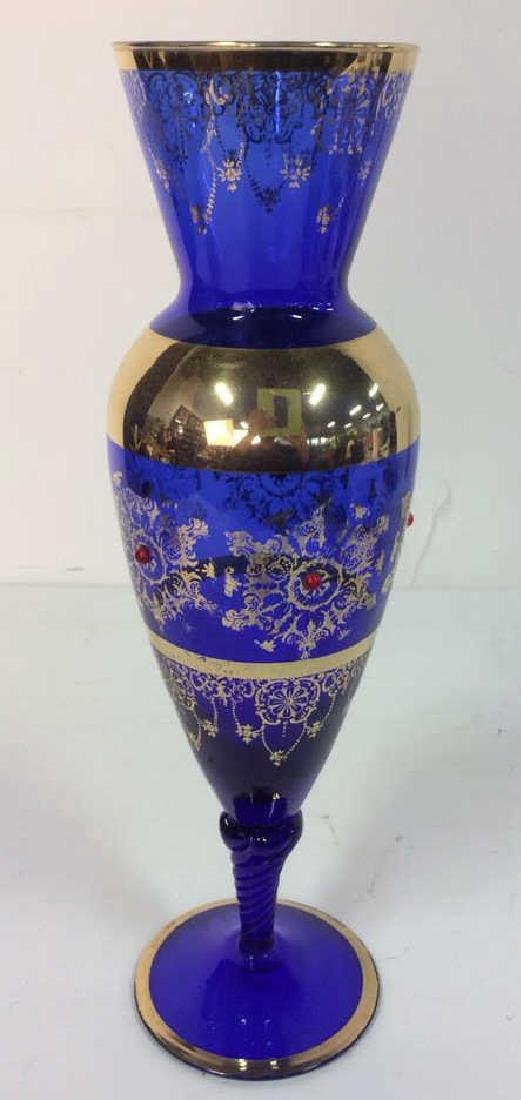 Cobalt Blue & Gold Toned Vase - 3