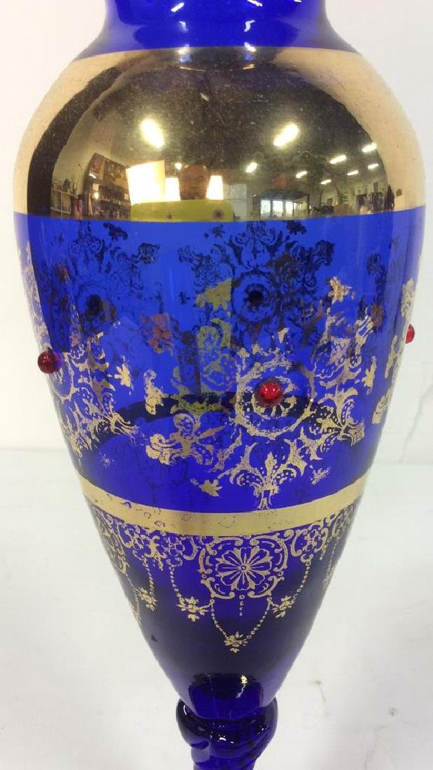 Cobalt Blue & Gold Toned Vase - 4