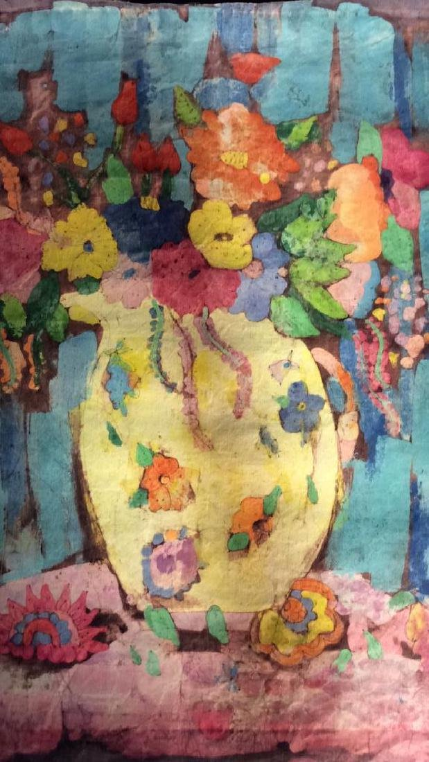 Batik Fabric Floral Vase Design