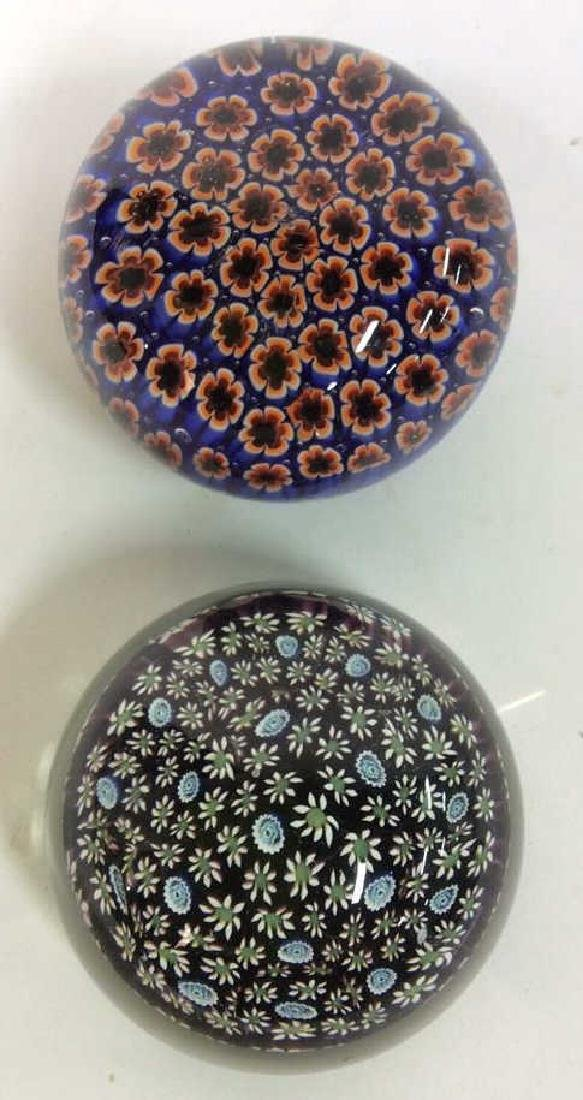 Lot 2 Glass Floral Detailed Paperweights