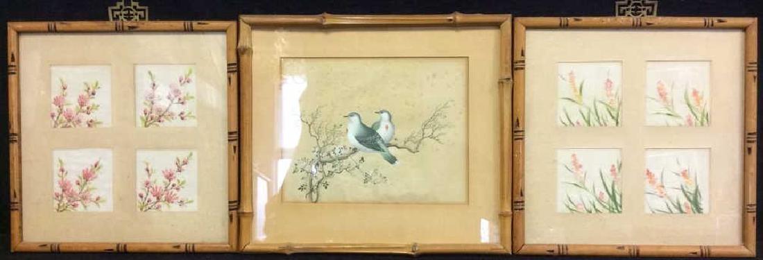 Lot 3 Bamboo Framed Asian Floral Artworks