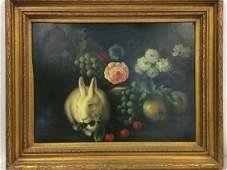 Framed Painting Still Life W Rabbit