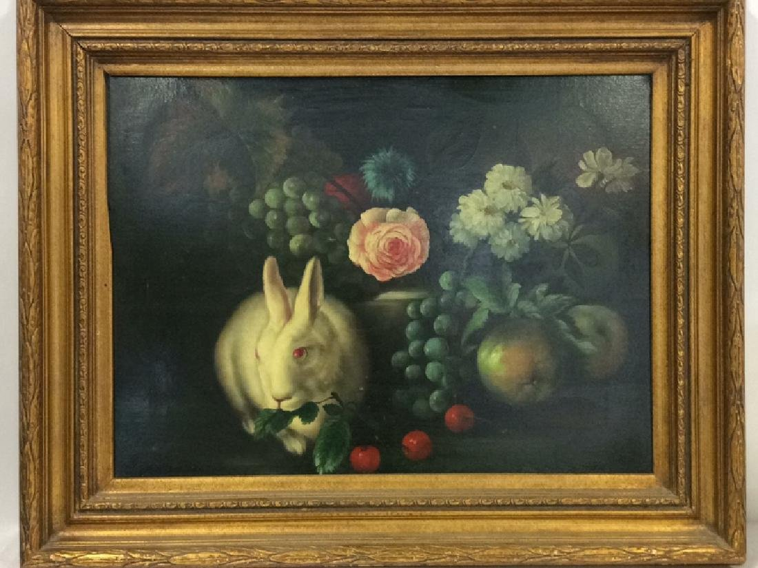 Framed Painting Still Life W Rabbit
