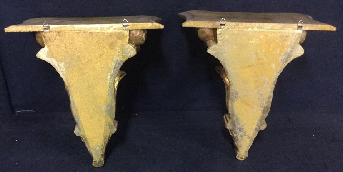 Pair Gilded Wooden Wall Sconce Shelves, Italy - 10