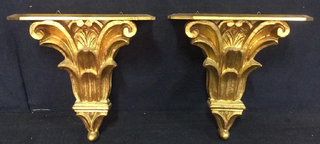 Pair Gilded Wooden Wall Sconce Shelves, Italy