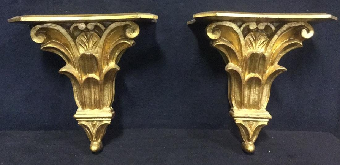 Pair Gilded Wooden Wall Sconce Shelves, Italy - 2