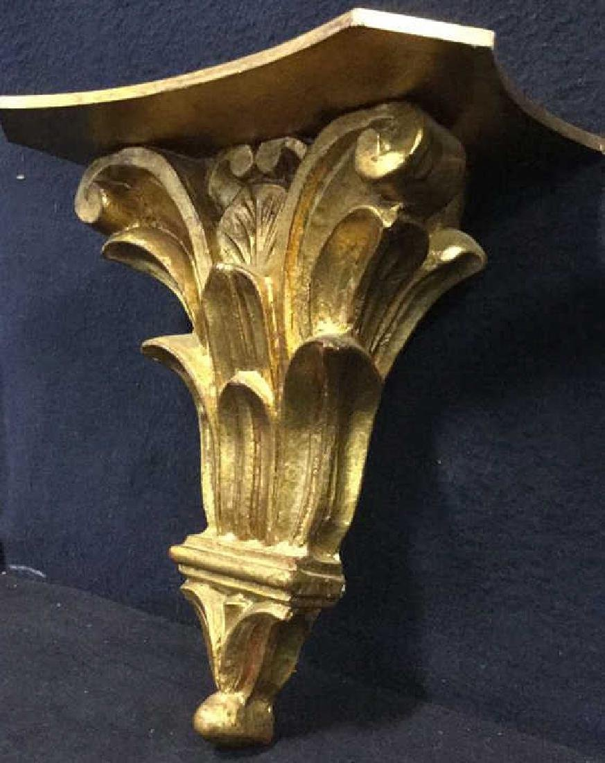 Pair Gilded Wooden Wall Sconce Shelves, Italy - 6