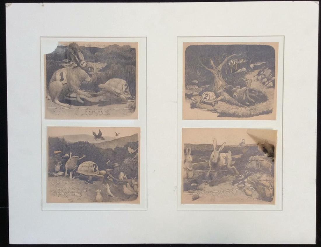 Tortoise and the Hare Drawings on Tracing Paper