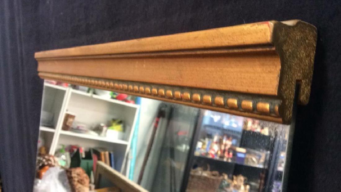 Gold Toned carved Wood Framed Mirror - 7