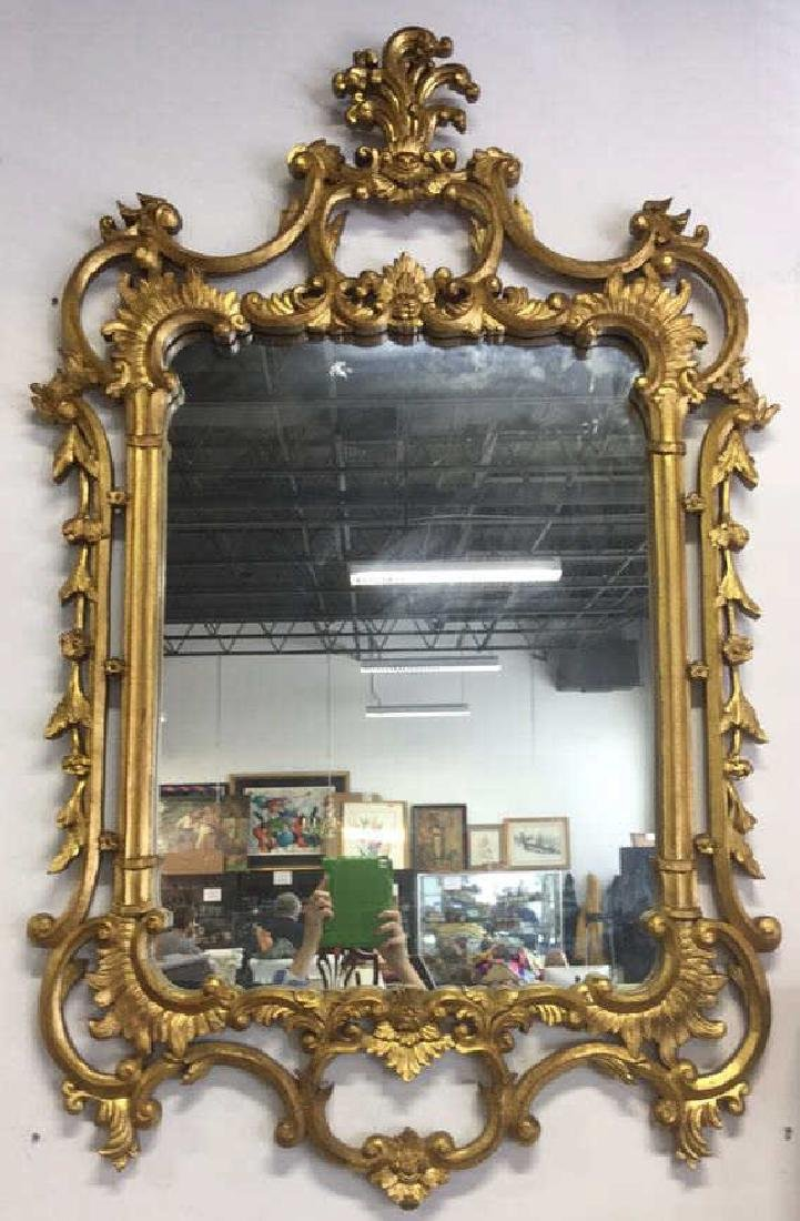 Ornate Louis XV Style Carved Gold Leafed Mirror