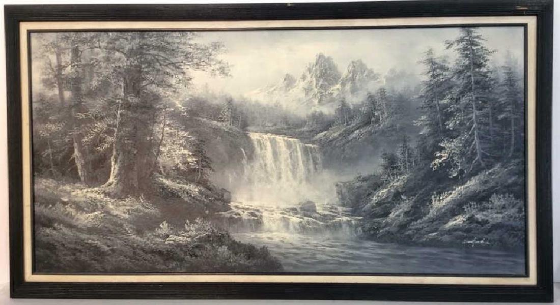 Framed Scenic Landscape Painting on Canvas