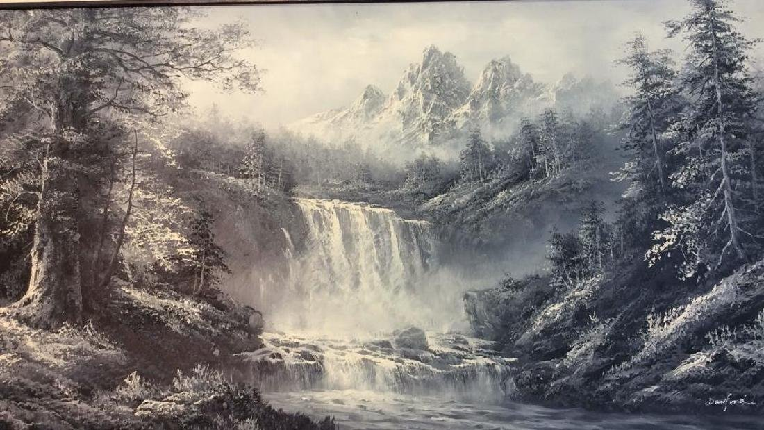 Framed Scenic Landscape Painting on Canvas - 2