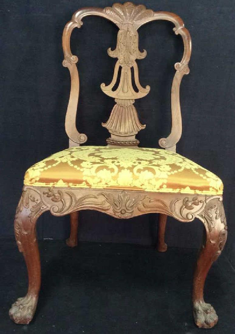 English Chippendale Style Carved Wood Side Chair
