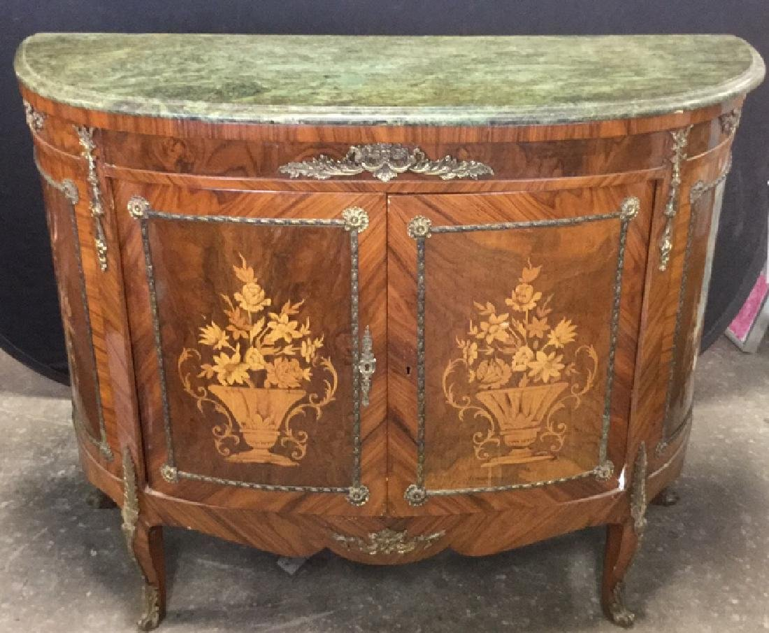 French Louis XIV Style Bombe Marquetry Commode