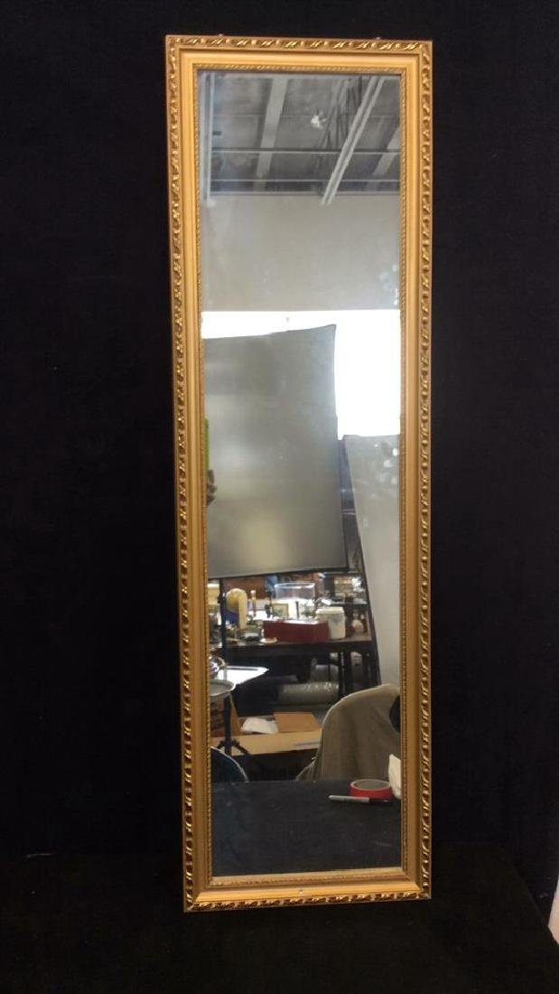 Gold Toned Frame Wooden Wall Mirror - 2
