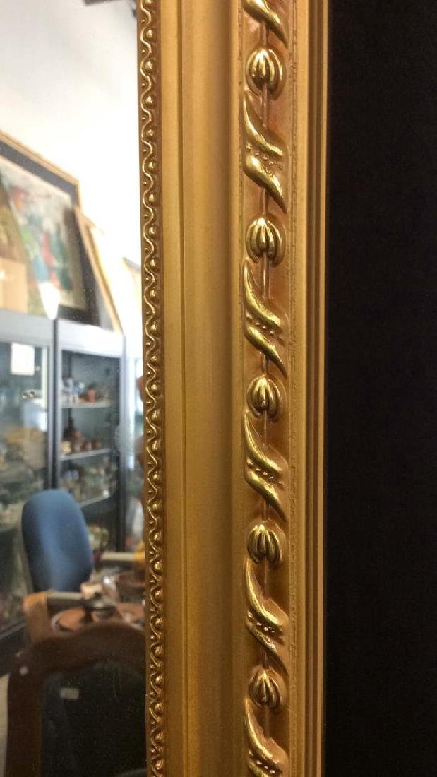Gold Toned Frame Wooden Wall Mirror - 3