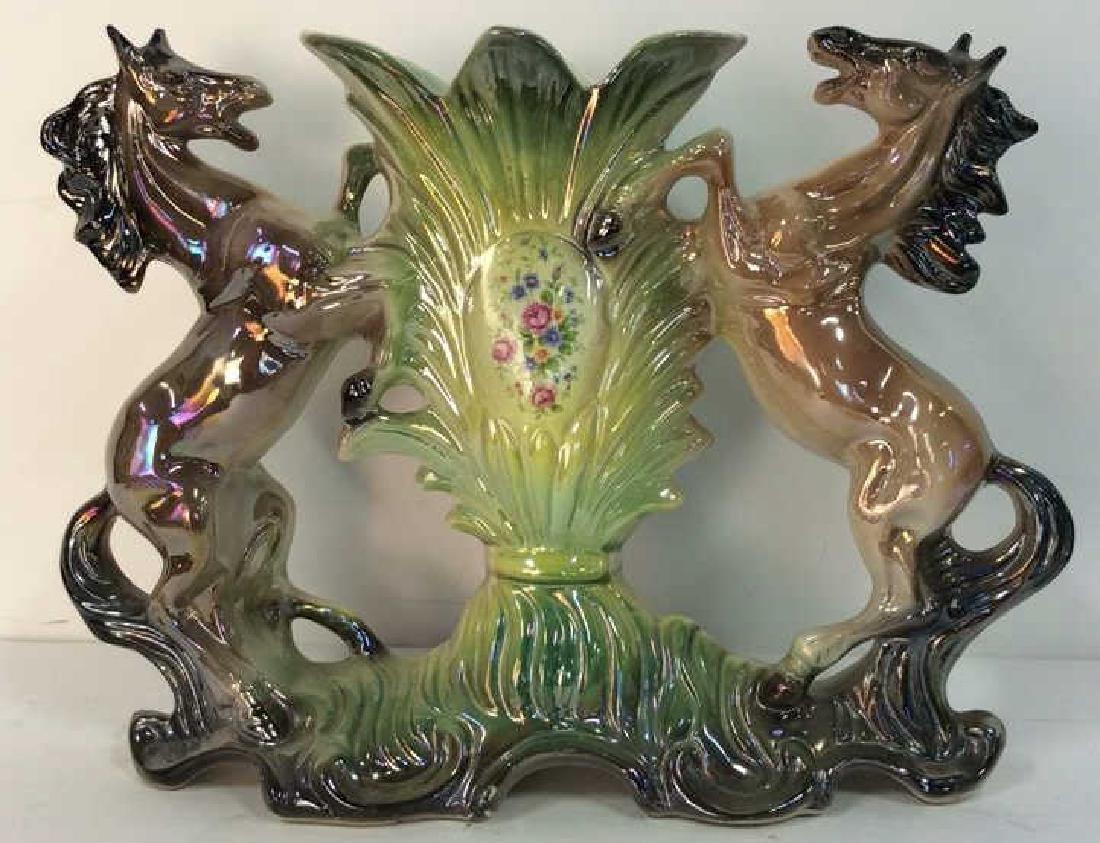 Italian Horse Figural Iridescent Porcelain Vase