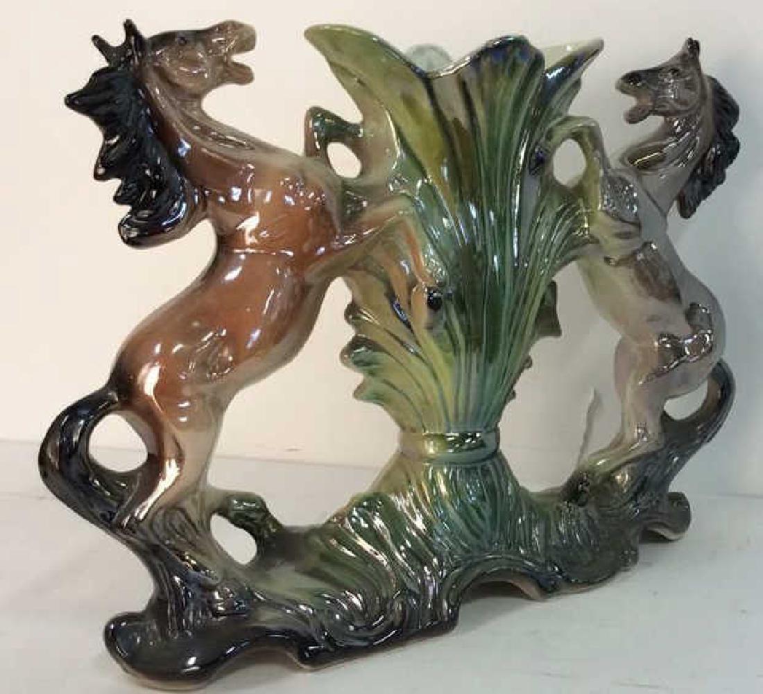 Italian Horse Figural Iridescent Porcelain Vase - 9