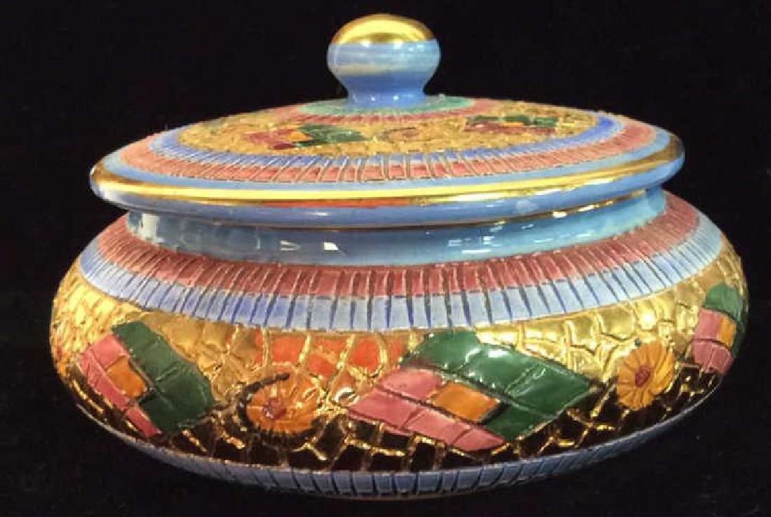Italian Art Pottery Painted Trinket Dish