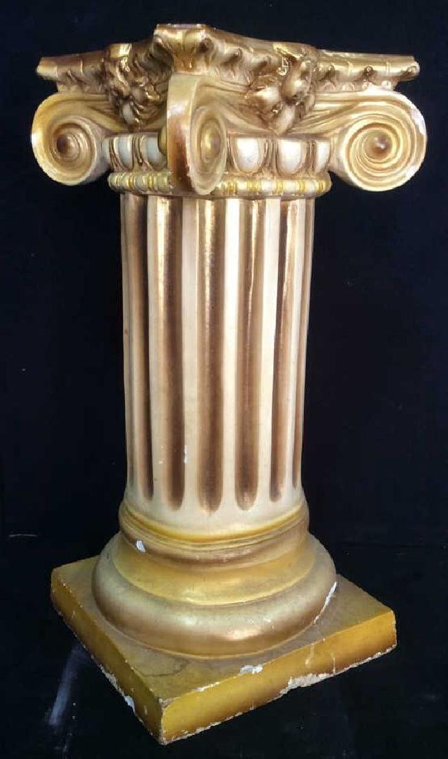 Gold and White Toned Ceramic Column