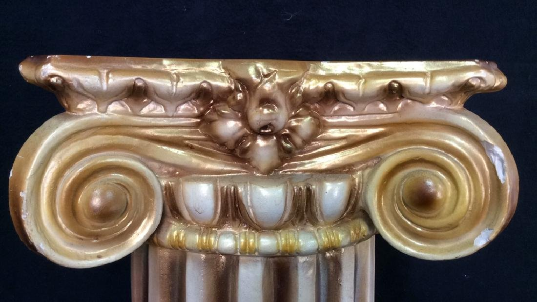 Gold and White Toned Ceramic Column - 4