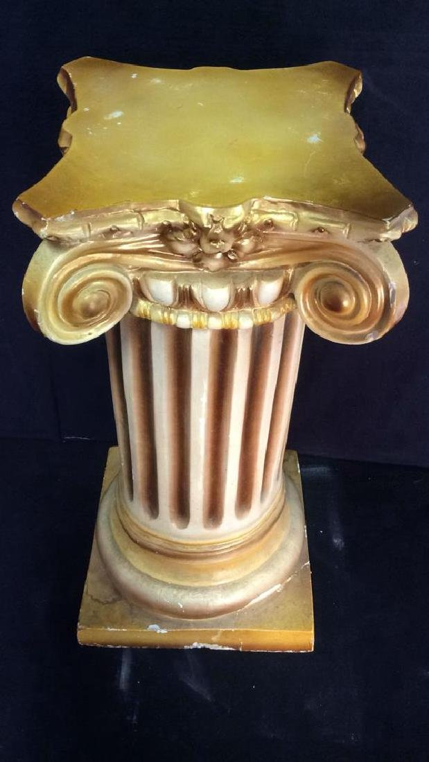 Gold and White Toned Ceramic Column - 6