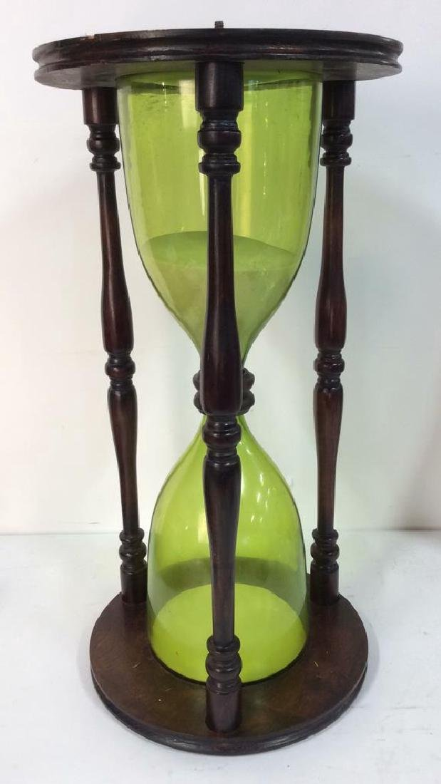 Carved Wooden Hourglass Side Table