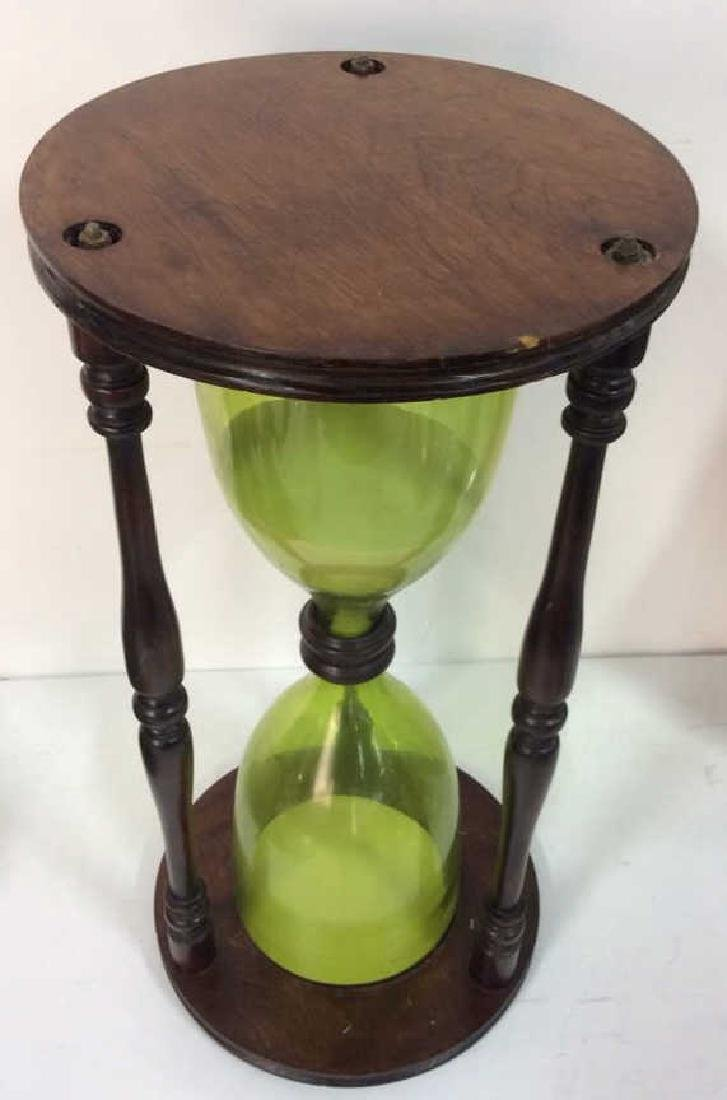 Carved Wooden Hourglass Side Table - 2