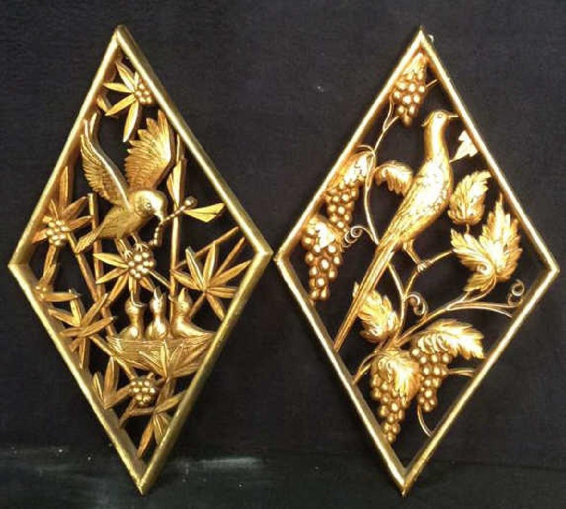 Lot 2 Carved Wooden & Gold Leaf Wall Decorations