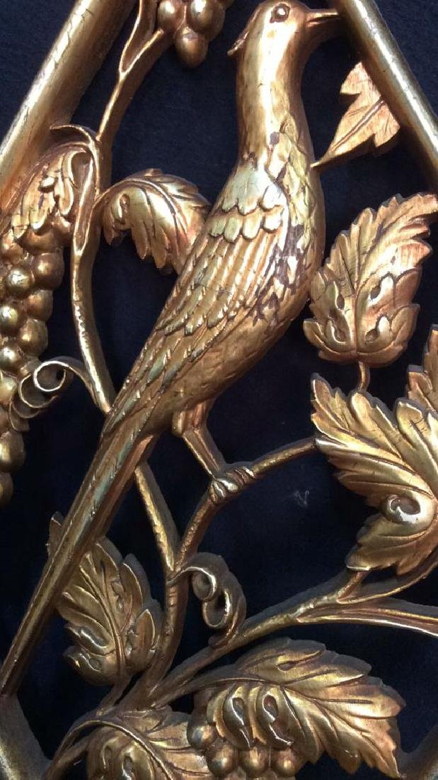Lot 2 Carved Wooden & Gold Leaf Wall Decorations - 5