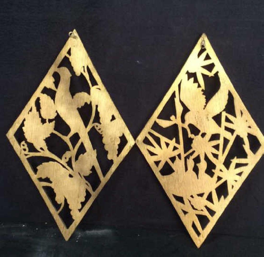 Lot 2 Carved Wooden & Gold Leaf Wall Decorations - 9