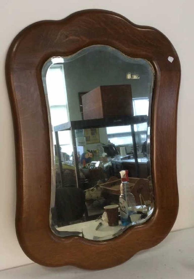 Carved Vintage Oak Framed Mirror
