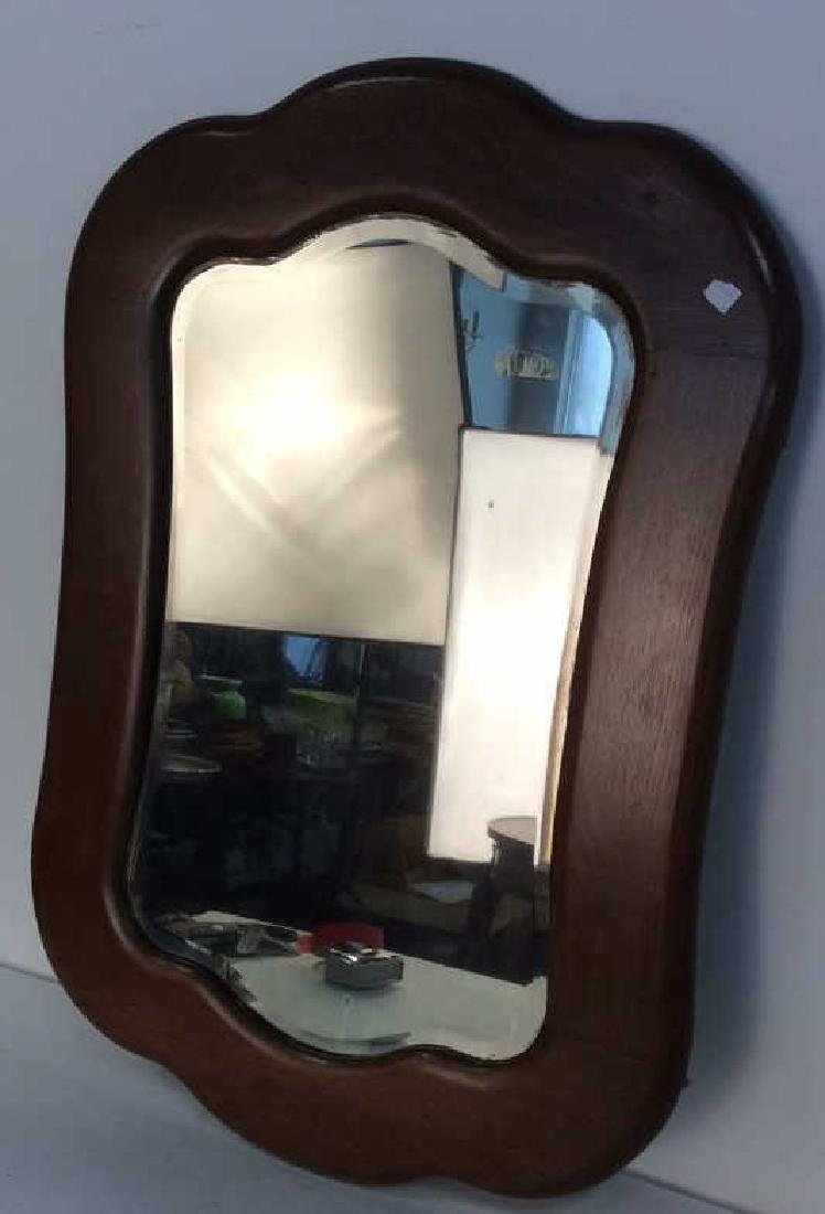 Carved Vintage Oak Framed Mirror - 2