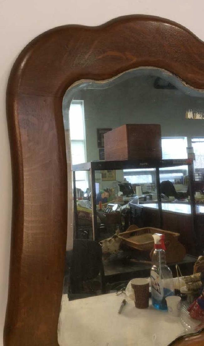 Carved Vintage Oak Framed Mirror - 4