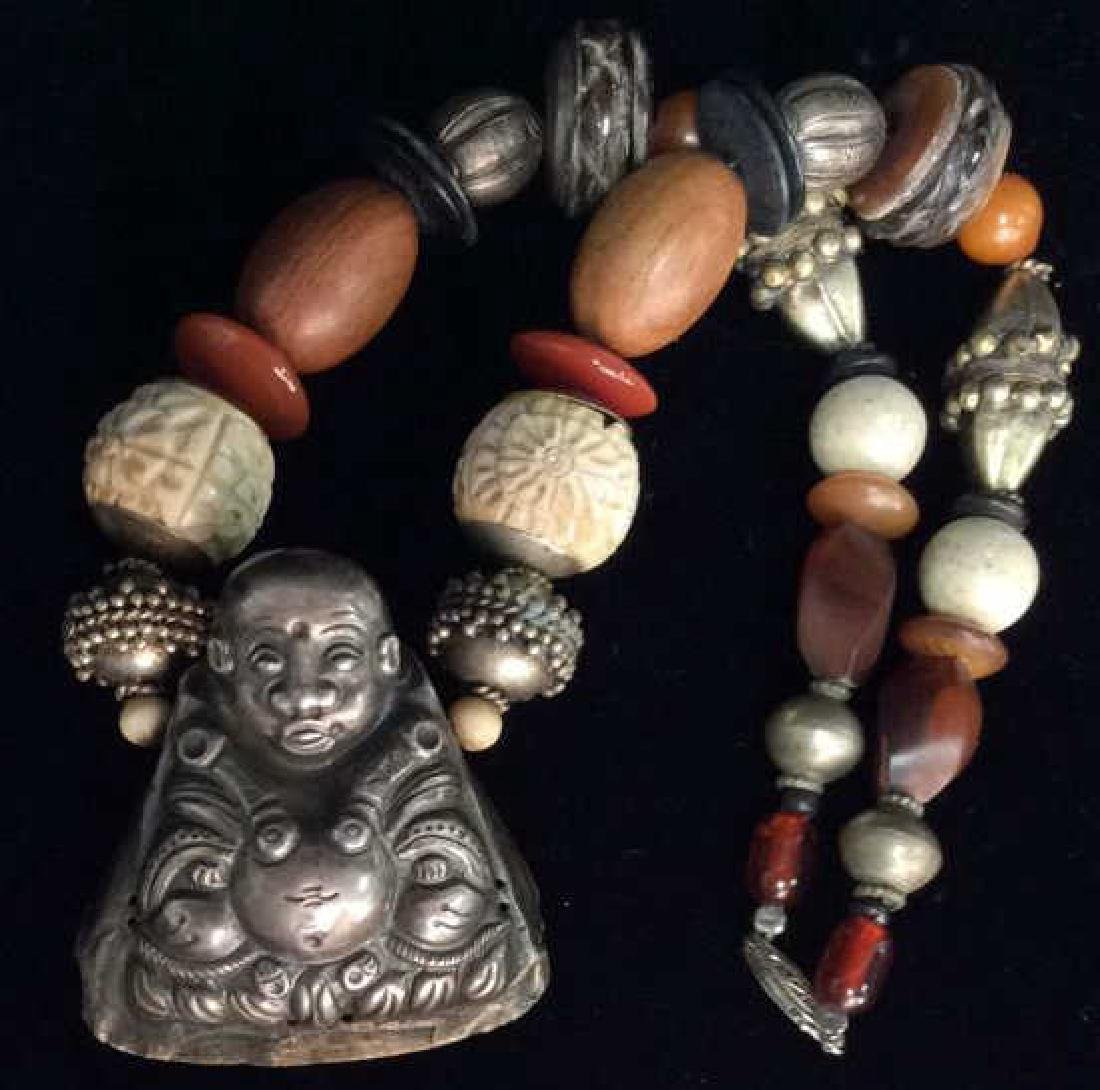 Repousse Buddha Pendant Beaded Necklace
