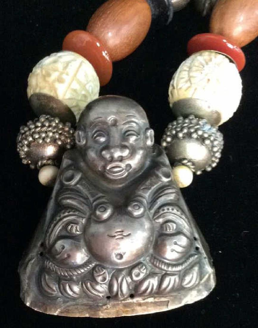 Repousse Buddha Pendant Beaded Necklace - 2