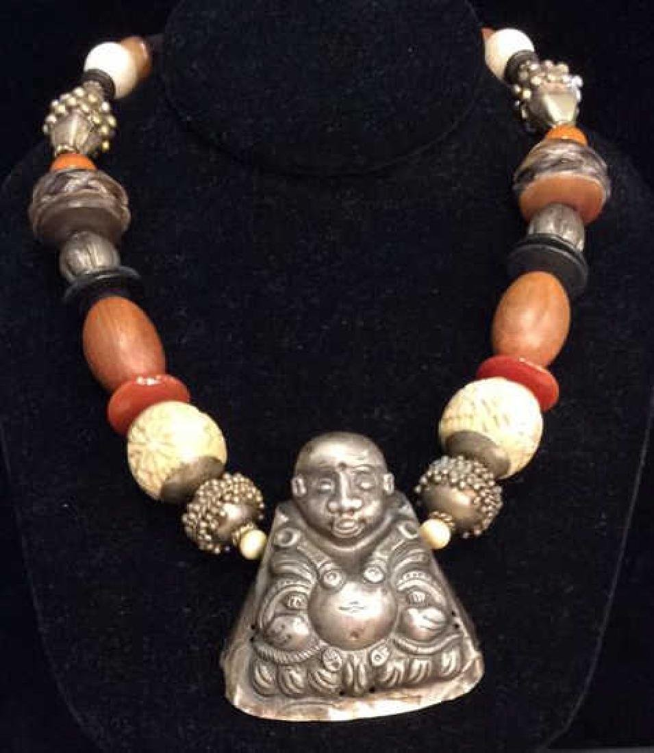 Repousse Buddha Pendant Beaded Necklace - 5