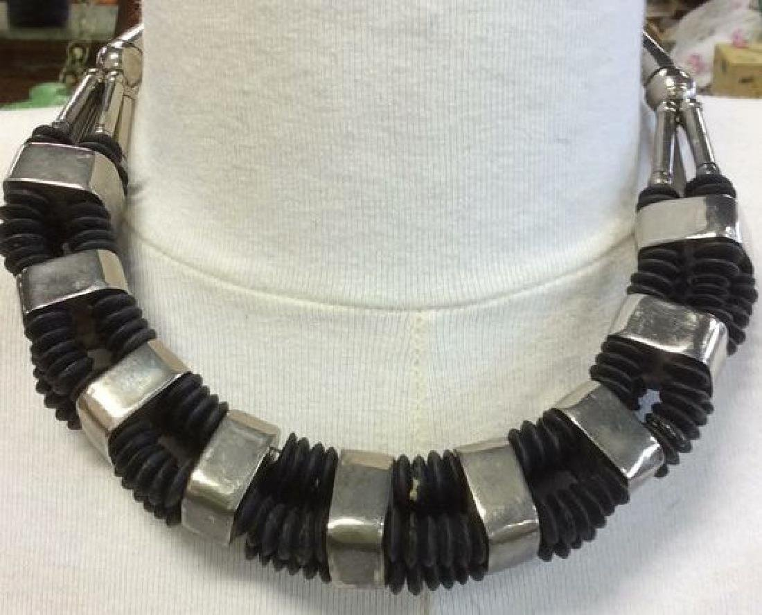 Vintage Silver Toned Black Tribal Necklace