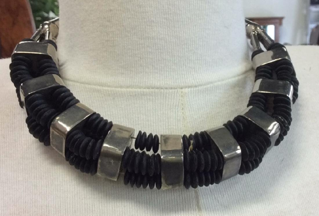 Vintage Silver Toned Black Tribal Necklace - 2