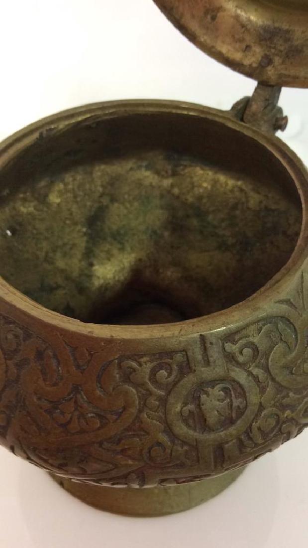 Vintage Bronze Toned Metal Lidded Censer - 5