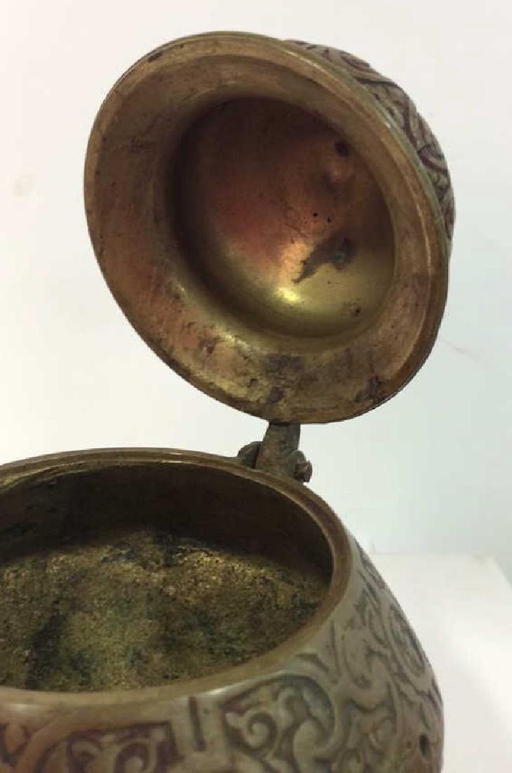 Vintage Bronze Toned Metal Lidded Censer - 6