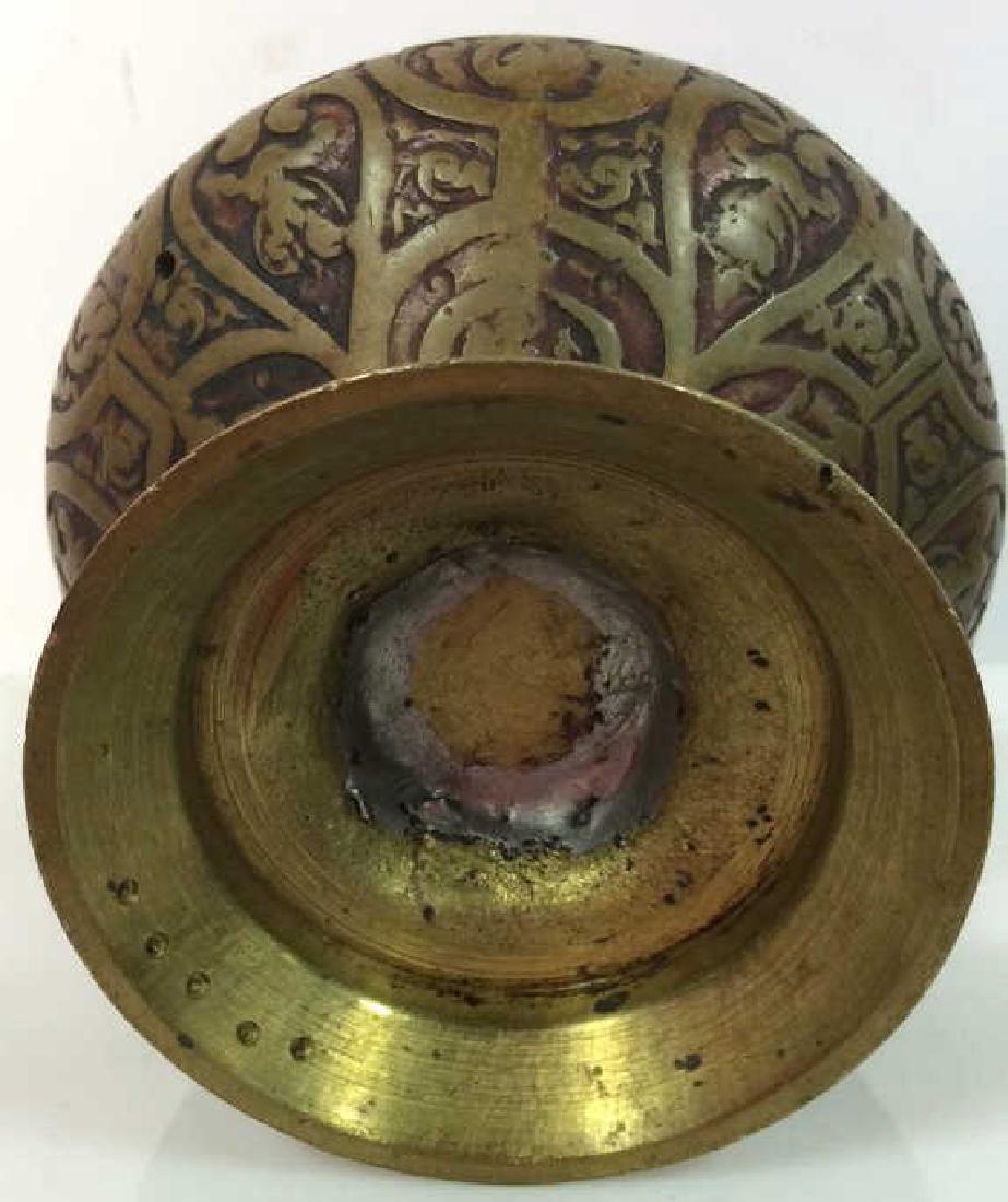 Vintage Bronze Toned Metal Lidded Censer - 9
