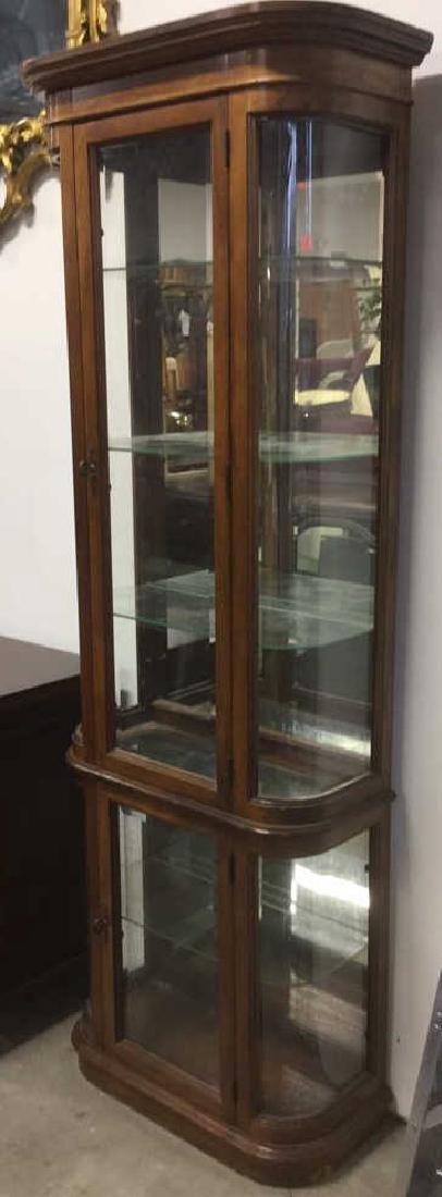 Antique Wood & Glass 4 Shelf Display Case
