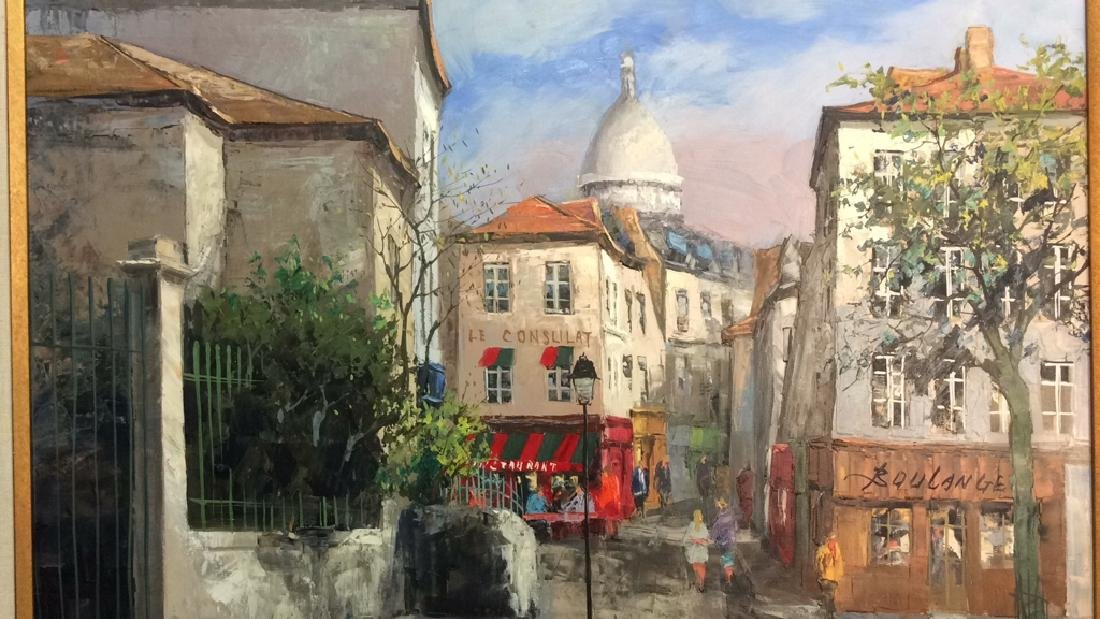 Signed Painting Of A Parisian Street Scene