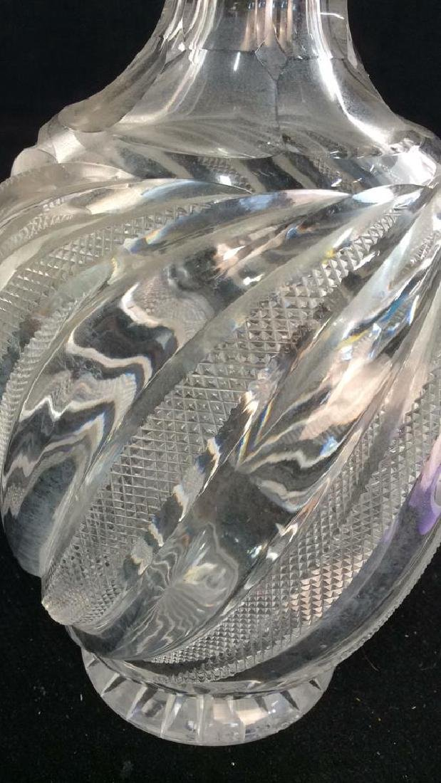 Vintage Crystal Decanter w Cut Swirl Pattern - 4