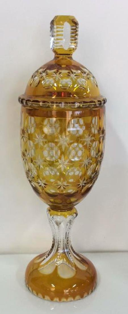 Bohemian Glass Lidded Footed Candy Display