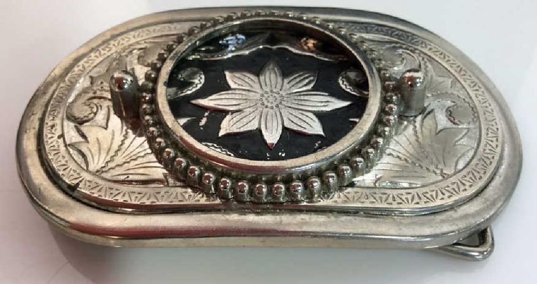 Silver Toned Metal Belt Buckle W Floral Design