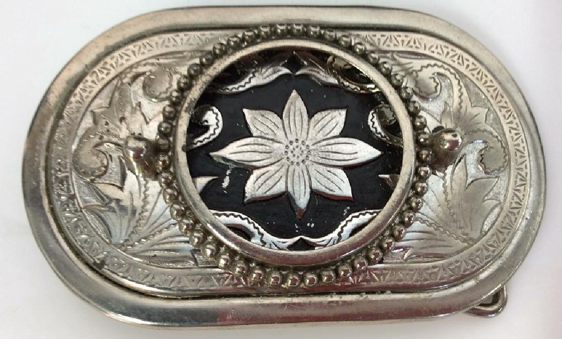 Silver Toned Metal Belt Buckle W Floral Design - 2