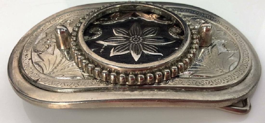 Silver Toned Metal Belt Buckle W Floral Design - 3